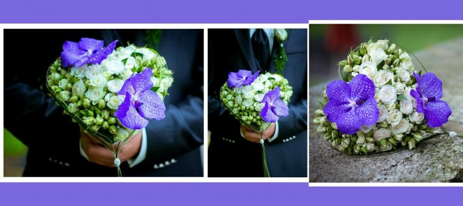 Brautstrauss lila Buschrosen hortensien2016