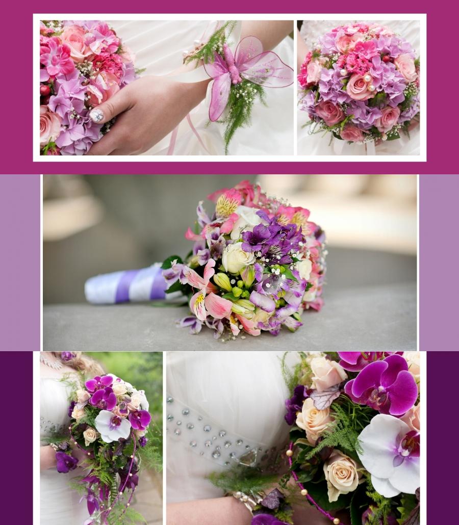Bunter Brautstrauss inkalilien rosen lila2016