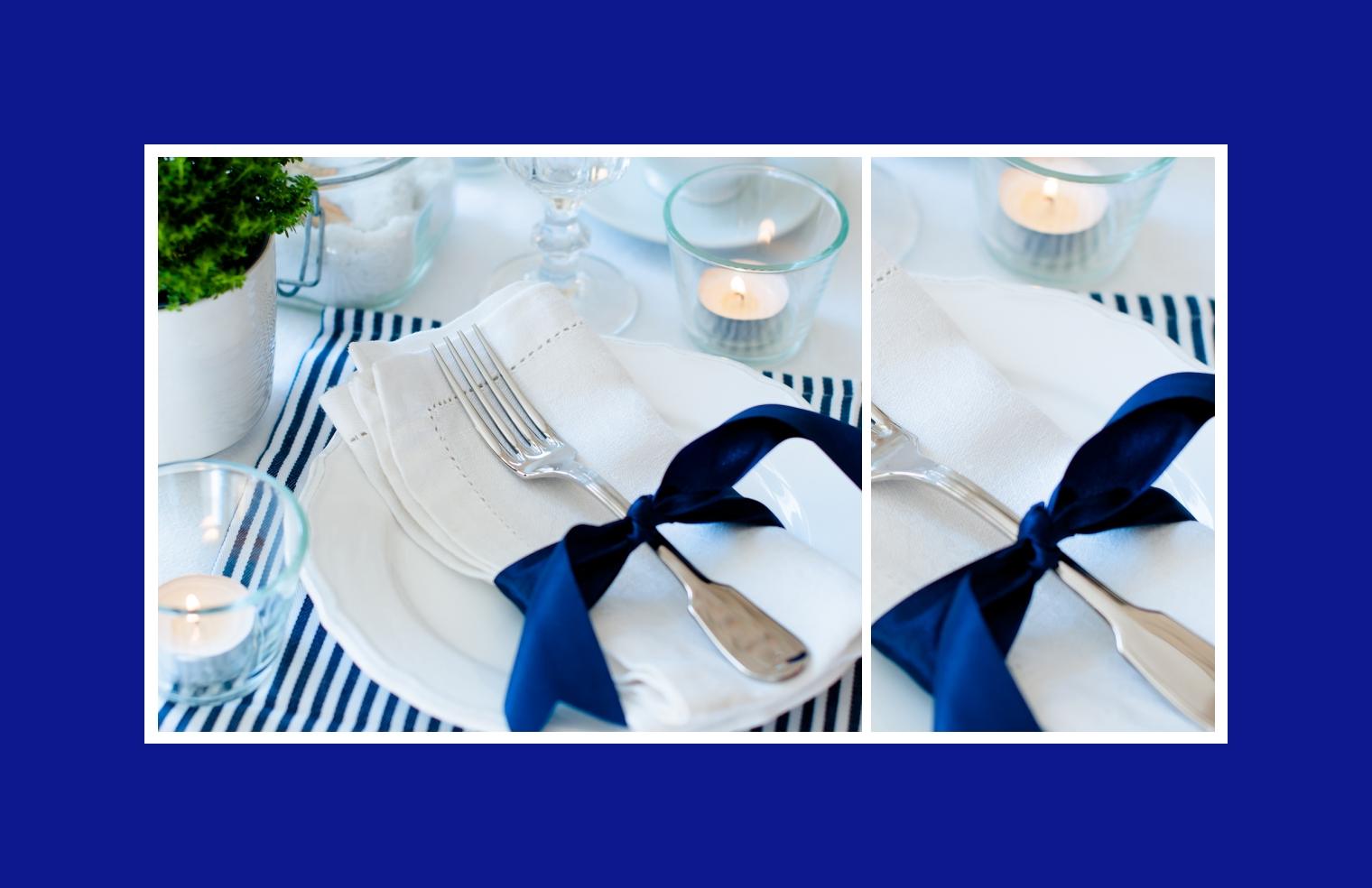 Edles Blau in Tischdeko
