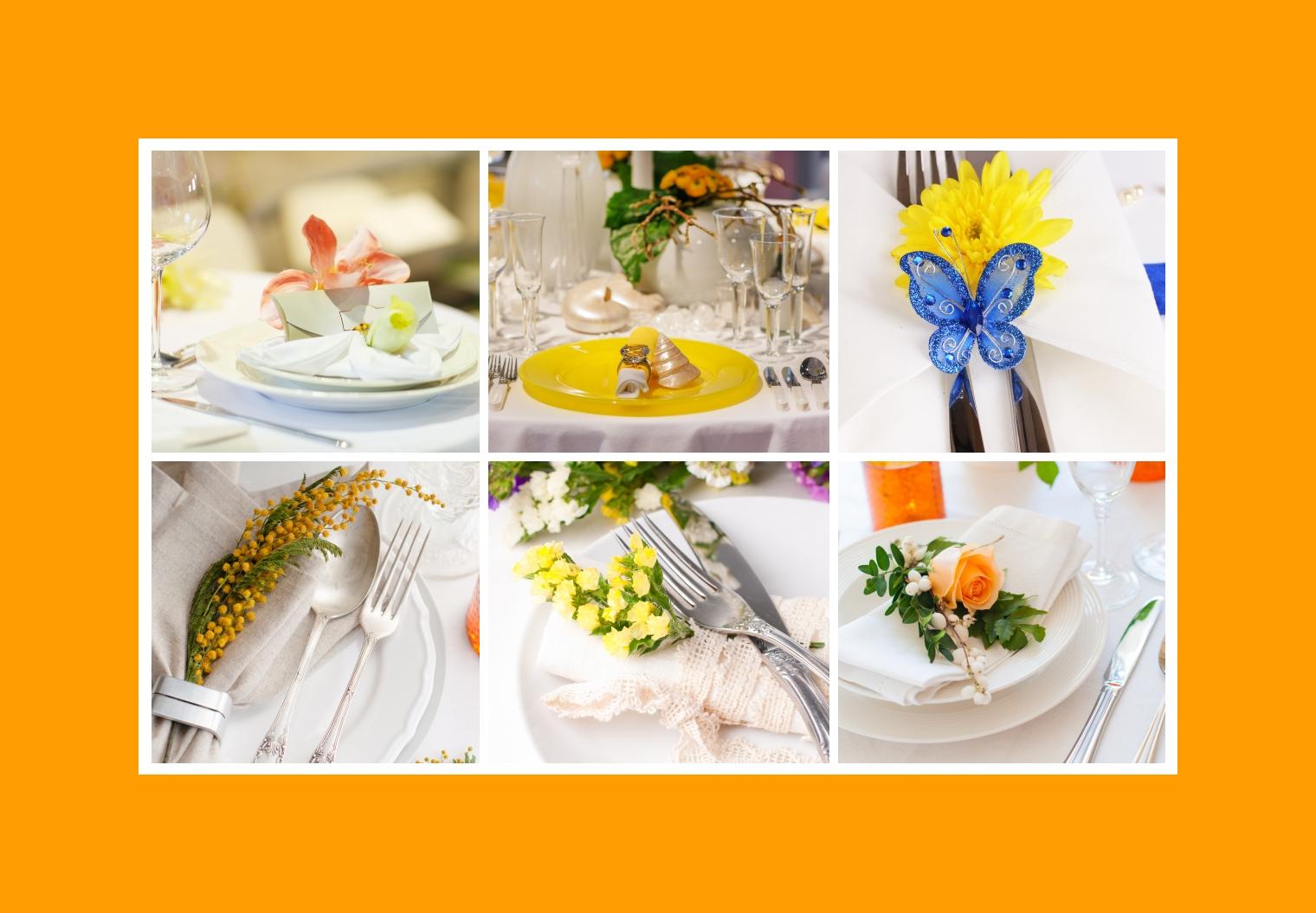 feierlicher Tisch-Set Deko in Gelb mit Servietten