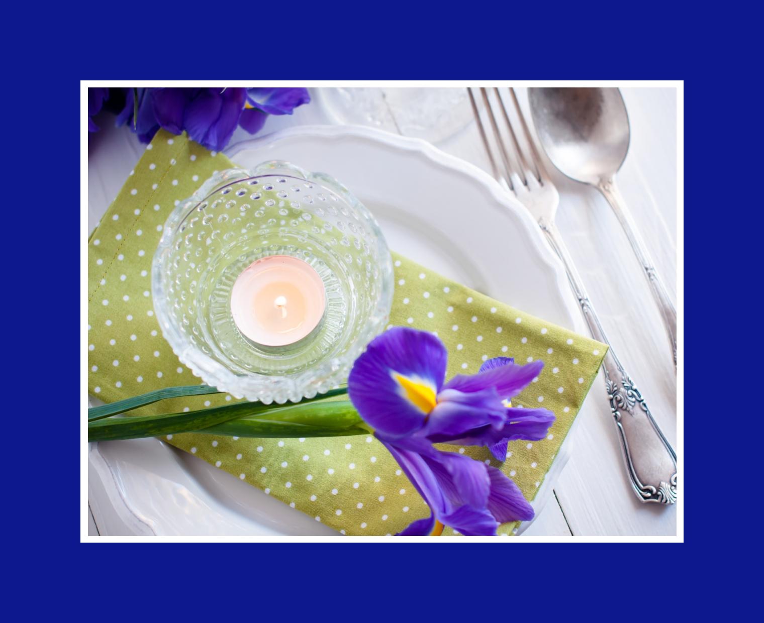 Irisblume in Tischdeko