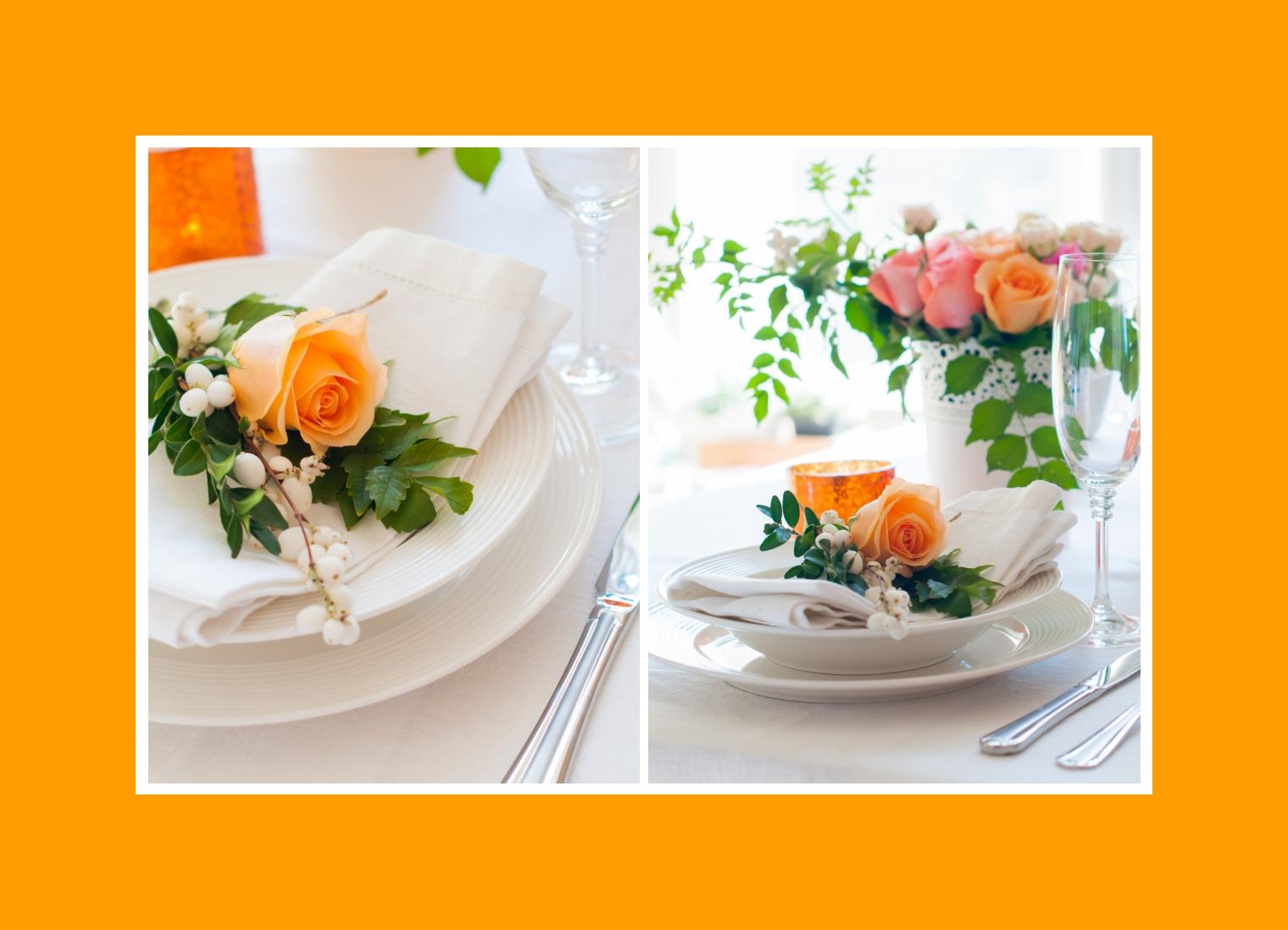 Servietten mit Blumendeko Hochzeit Tisch