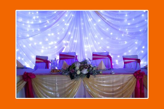 Hochzeitstisch Blau-Pink