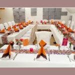 Hochzeitsdeko Tisch Orange-Lila